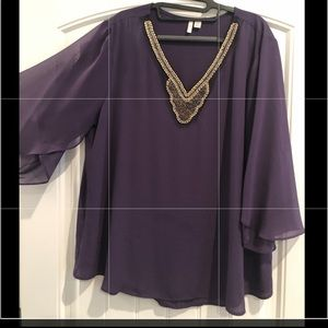 Eggplant Jewel neck top